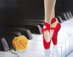 Ballerina Painting on Piano Keyboard