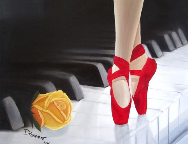 Ballerina Painting on Piano Keyboard