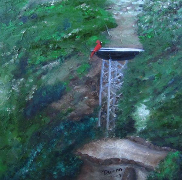 Oil Painting of Bird Bath with Red Bird
