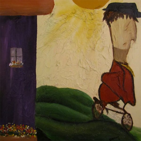 Acrylic Painting of Man on Bicycle