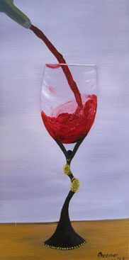 Contemporary FIne Artist - Oil Painting with Wine