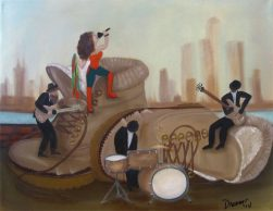 Rock N Roll Boots Painting, Oil on Canvas